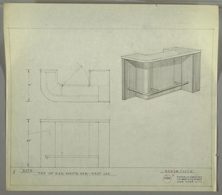 Design for bar in white oak and lacquer. At upper right, perspective shows U-shaped bar with angled front right edge and curved front left. Bar top is white oak and overhangs main carcass; below, a root rail is mounted at three points. At left, plan describes depth of storage shelves and central cabinet while below, a front elevation provides additional view. Inscribed with Deskey No. 7456.