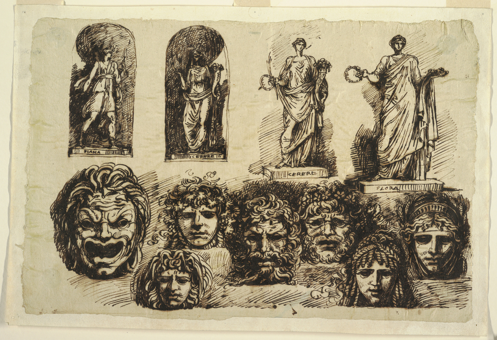 Drawing, Studies for Four Statues and Seven Masks