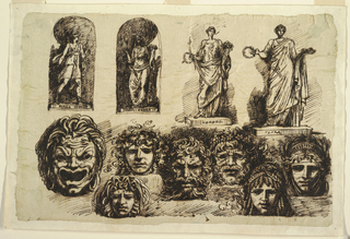 Sheet divided roughly into upper and lower parts. Upper part includes studies of four full-length sculptured figures, each labelled by name, proceding from left to right: Diana; 2 views of Ceres; Flora. Seven grotesque masks are arrayed horizontally across bottom part of sheet.