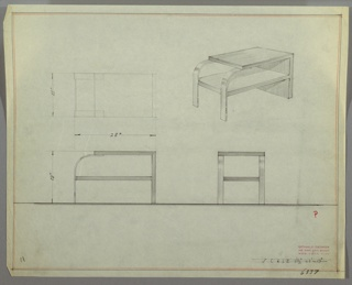 Perspective, plan, and elevation drawing for low wooden (?) side table. Rectangular top of table and right side; shelf below extends beyond width of top surface. Top of table and lower shelf connected by two curved pieces of wood.