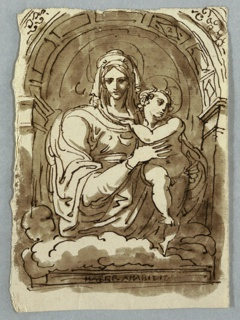 Madonna and Child in an arched niche with clouds below.
