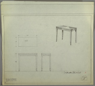 Perspective drawing of small rectangular end table with delicate saber legs. Decorative metal (?) trim outlining legs and cornice of tabletop. Shiny surface probably polished wood.