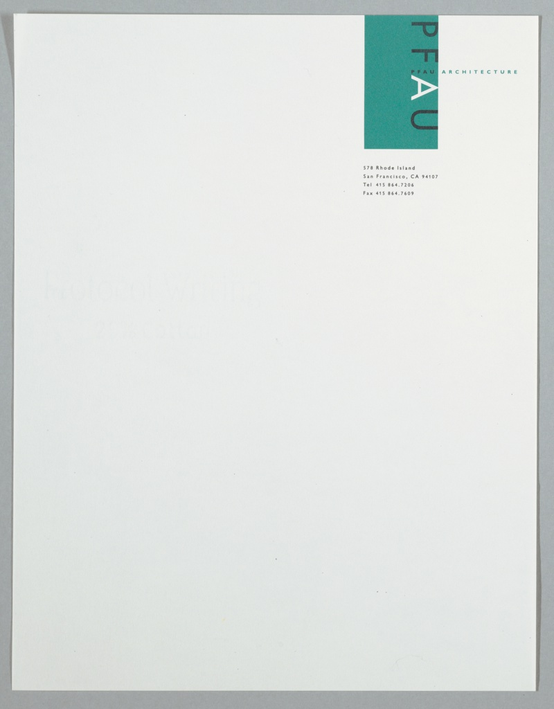 "Corporate identity at top right corner of stationery sheet. ""PFAU"" runs down right side of vertical rectangle hanging from top of page, the lettersfacing left, all in black except for the ""A"" (white). ""PFAU ARCHITECTURE"" runs horizontally to right edge of sheet, ""PFAU ARCHITECTURE"" in turquoise to right of rectangle. Address, telephone and fax numbers below rectangle in black. Printed in turquoise, black inks."