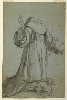 Horizontal rectangle illustrating two sketches of a monk.
