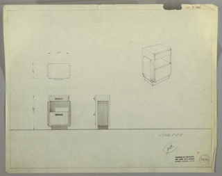 Perspective, plan, and elevation drawing of end table. Drawer with rectangular pull below surface of table, open shelf below. Larger drawer at bottom with rectangular pull. Rounded corners at bottom of table; small rectangular base supporting unit.