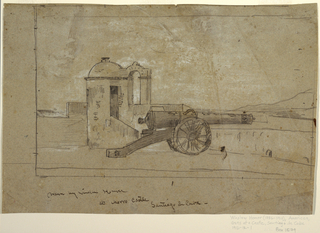 Horizontal view of a cannon and the searchlight on the parapet of the Spanish fort, Morro Castle, with the harbor of Santiago de Cuba visible in the background.