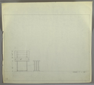 Plan and elevation drawing for end table with rectangular surface, thin, U-shaped legs with three strips of metal at each side of table.