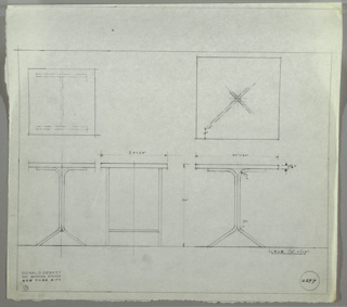 Plan and elevation drawings for two tables. At left is smaller version, with square top and tubular legs. Table at right in same style but larger.