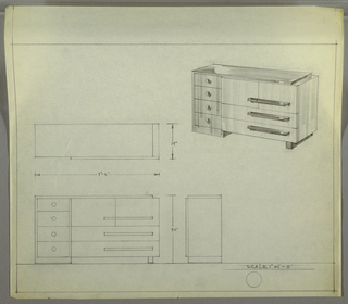 Design for sideboard. At upper right, perspective describes rectilinear case piece with stack of four drawers with spherical knobs at left and cabinet above two long, horizontal drawers at right, all accessed by horizontal pulls. Left side is supported by base that appears to be of one piece with side and top, while right side is supported by perpendicular rectangular foot. At lower left, plan, front and side elevations.