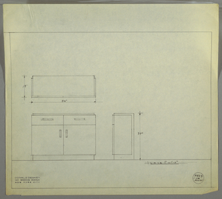Design for sideboard. At lower left, front elevation of sideboard with two drawers above and two doors below; the former accessed by recessed horizontal handles, the latter by vertical ones. Top, rear, and bottom planes form one rectilinear volume, while drawers and cabinet form sides, creating a smaller volume set into the frame created by the first. Above, a plan with dimensions; at lower right, a side elevation with dimensions. Inscribed with Deskey No. 7923.