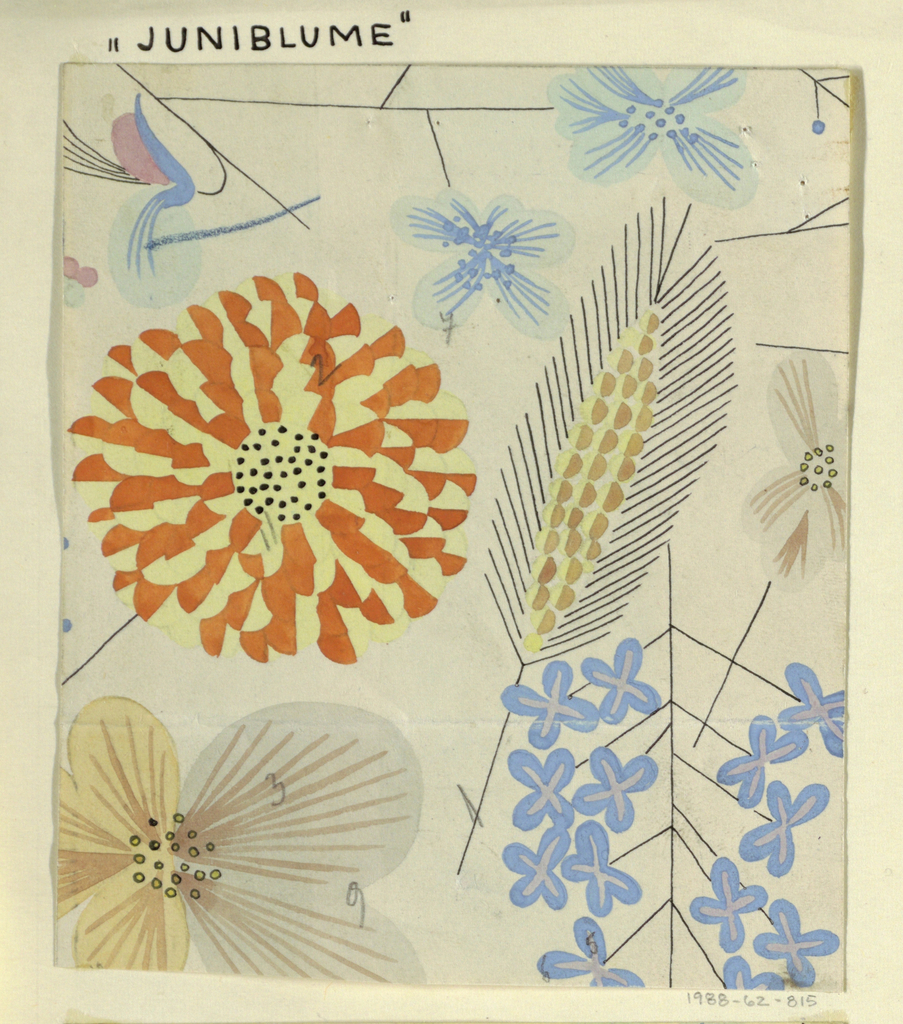 Pattern of wild flowers in orange, yellow, lavender, and pale blue on white ground.