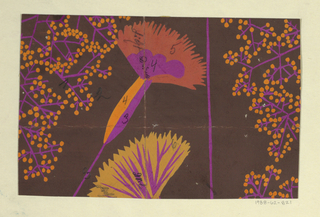 Stylized fan-shaped flowers in magenta and orange with sprays of magenta and orange buds on a brown ground.