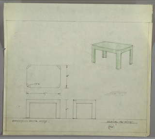 Perspective, plan, and elevation drawing for low coffee table in white holly. Table probably lacquered in green throughout. Rectangular table top with rounded corners, four thick legs rounded on outside.