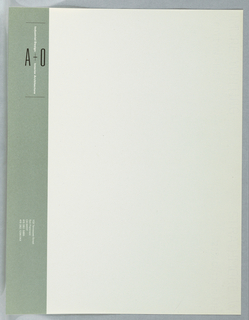 "Corporate identity running along left edge of sheet: green band running from top to bottom. Top: ""A+O"" (in black) running horizontally, bisected at shared plus sign by ""Industrial Design + Interior Architecture"" (in white) running vertically. Logo bounded by thin black lines at top and bottom. Bottom of sheet: address (1311 Tennessee Street), phone and fax numbers facing to left side. Printed in green, black inks. Letterhead in cream with left edge containing light green rectangle with text in black and white: Industrial Design A + O Interior Architecture; 1131 Tennessee Street / San Francisco / CA 94107 / 415 282-5885 / 415 282-1296 FAX."