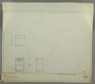 Plan and elevations for small end table. Rectangular body of table, with rounded edges and a flat top; one drawer below surface, and two shelves below drawer. Body of table on raised, curved legs.
