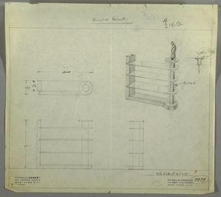 Perspective, plan, and elevation drawing of shelving unit. Three narrow rectangular glass shelves with rounded right ends, connected by tubular metal support at right. Small circular glass shelf at top of support, displaying figural sculpture. Rectangular Oriental walnut (?) base below and at left.