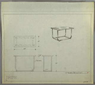 Perspective drawing of a small table in upper right corner, plans and elevations in lower left. Rectangular table top with polished surface, four tubular metal legs curved inward and connect to two tubular metal beams/platforms at ground.
