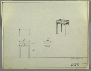 Perspective, plan, and elevation drawing for small end table. Rectangular top of table in Bakelite or another reflective material; small drawer with round pull below; frame of four straight, wooden legs.