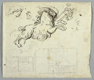 The top half depicts a ram leaping right towards leaves. A portrait is sketched on the left of the ram. The bottom half shows architectural plan.