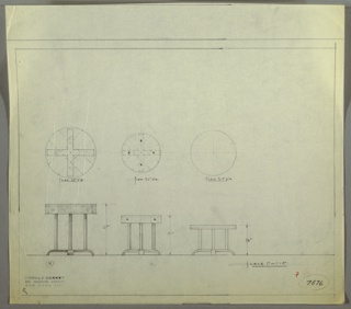 Three versions/shapes of end table drawn in elevation and plan. End table has circular top  of wood, and four straight, columnar legs connected to a horizontal base structure with legs. Drawings from left to right range from largest to smallest.