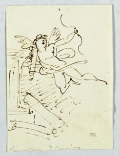 Sketch of cupid, his left hand holding a bow. Suggestion of architecture at left.