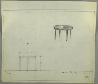 Perspective drawing and elevation of small round end table with straight legs