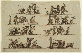 In four rows, caption above. Top row, left, shepherd and shepherdess revering hermae. Top row, right, preparation of sacrifice; man gives something to priestess while another runs with lighted torch. Second row, left: two men play skittles. At right, woman and man carry sheaf to hermae, beside child with tambourine. Woman with bunch of grapes followed by running animal. At right, woman pours from jar into bowl held by putto. man with load of grapes follows. Bottom row, left: Romulus and Remus with she-wolf near river-god. Woman brings offering to altar, which bears letters SPQ. At right, priestess points towards hermae behind altar, speaks to kneeling girl. Verso: in black chalk: psiche adorata per venere/ pische sede/ amore 3 psiche nel inferno 4 nozze de piche.