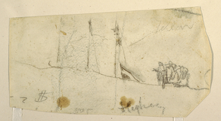 Horizontal view shows crest of a sand dune, on which is a group of men, and above which project three masts of a schooner flying an inverted flag.