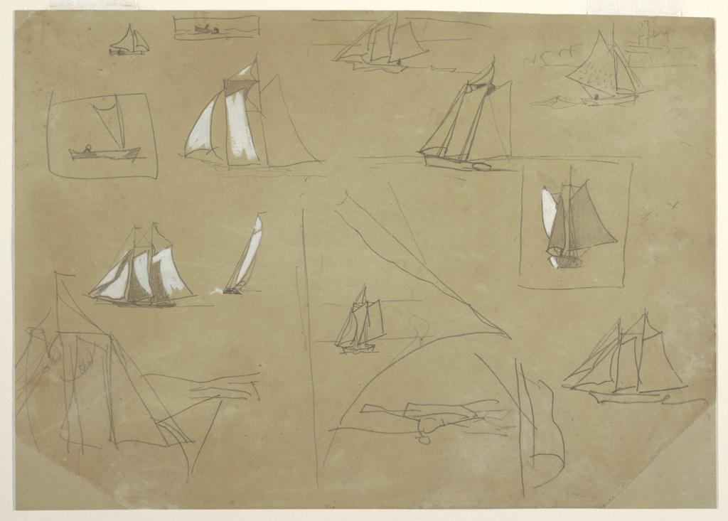 """Horizontal sketch showing twelve sailing boats and, inverted at bottom of sheet, one rowboat.  Three sketches of sails; the one at bottom left is inscribed twice with the word """"Shal."""" The vessel drawn in the upper right corner appears against the ruin of Tynemouth Priory in the background."""
