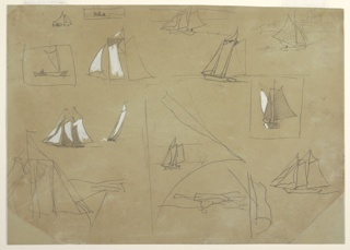 "Horizontal sketch showing twelve sailing boats and, inverted at bottom of sheet, one rowboat. Three sketches of sails; the one at bottom left is inscribed twice with the word ""Shal."" The vessel drawn in the upper right corner appears against the ruin of Tynemouth Priory in the background."