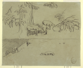 Recto: Horizontal view with the  upper portion showing the trunk of a chestnut tree with grazing sheep, and the lower portion showing a steep hillside with grazing sheep.