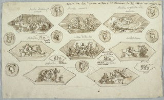 Eight large hexagons distributed into three rows; eight circular medallions with hands, distributed into wedges and four small hexagons.  On second row, three hexagons showing respectively: Venus and companions adore Psyche. Psyche in boat charon. Cupid touches with his arrow the sleeping Psyche. Third row: small hexagon with decorative motif. Fourth row: three large hexagons showing respectively:  girl outlining shadow of her lover at the wall; an architect over his plans. In intervals, two small hexagons, with sketches. Fifth row: small hexagon with two figures beside altar.