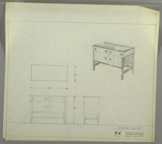 Design for sideboard. At upper right, perspective shows rectangular case piece. Top, lower trim, sides and legs in darker material, with drawers and cabinets in a lighter, vertically striated wood. Above, two drawers side-by-side accessed by ball knobs on either side, while below cabinet doors accessed by the same. Legs are square-plan and slightly tapered and are reinforced by paired stretchers on sides and at back. At lower left, plan, front and side elevations also shown. Inscribed with Deskey No. 7616.