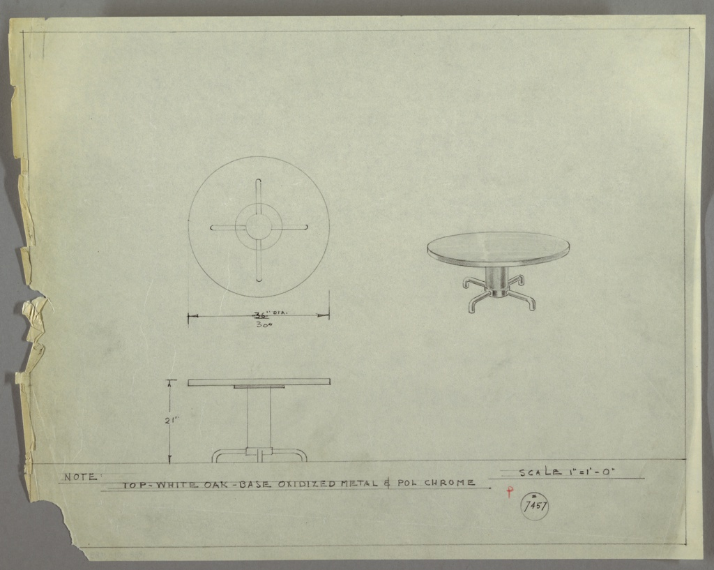 Drawing for a low, circular table with squat, columnar base supported by four tubular metal legs. Top of table is white oak, base is oxidized metal and polished chrome.