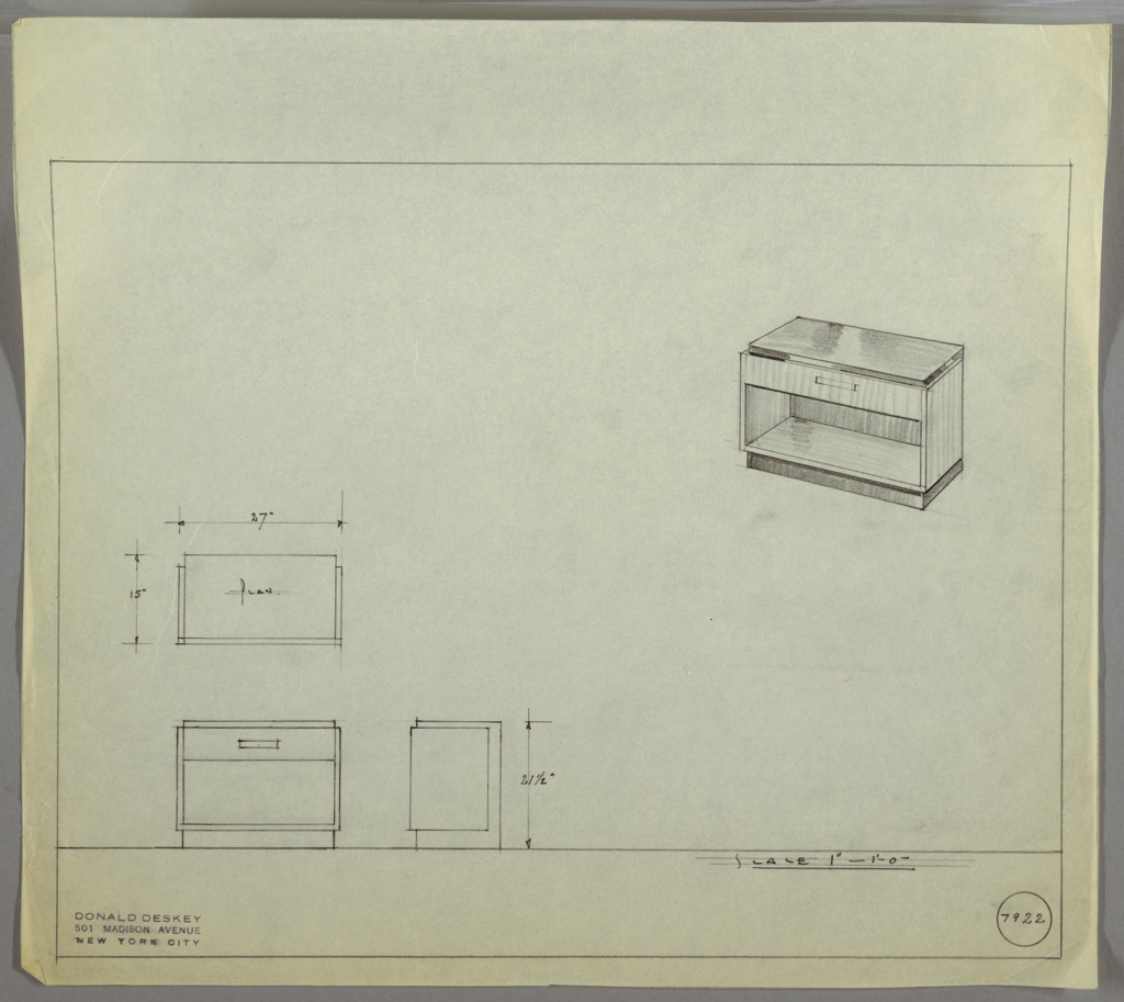 Perspective drawing of a small end table in upper right corner, plan and elevation in lower left. End table is low to ground with no feet. One drawer at top with open shelf below. Top and base/pedestal of table in darker material (Bakelite?).