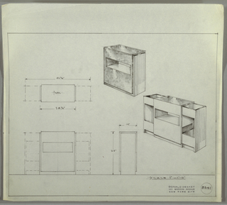 Design for cabinet with pull-out storage. At right, two perspectives show cabinet in both closed and opened variations. Square cabinet in, probably, burled wood with horizontal opening at about half height; this is set into angular, U-shaped base of thin planes. Below, open version shows sides extending outward to reveal either drawer or shelf space. At left and below, plan, front, and side views. Inscribed with Deskey No. 8341.
