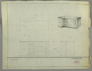 Perspective, plan, and elevation drawing for low sideboard. Rounded cabinet at left with circular pull at center of cabinet door. Rectangular right side with three stacked horizontal drawers; pulls on left and right side. Body of sideboard in burled wood (?); left cabinet in wood with vertical grain; top of cabinet in Bakelite (?) or polished material.