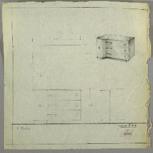 """Design for sideboard. At upper right, perspective shows rectangular cabinet with semi-cylindrical left side. Tabletop of reflective surface, possibly Bakelite, with cabinet possibly in burled wood and rounded left side in wood with vertical grain. Three drawers on right side accessed either by rectangular finger pulls at left or circular knobs at right. Cabinet slightly cantilevered over base, which otherwise mirrors tabletop plan. Left-side rounded cabinet also accessed by singular circular knob. At upper left, a plan; lower left, front elevation; lower right, side elevation. Inscribed with """"K. 9/30/33"""" at lower left and with Deskey No. 7122."""