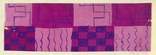 Line motif with zigzag and checkerboard pattern in purple, pink, and magenta.