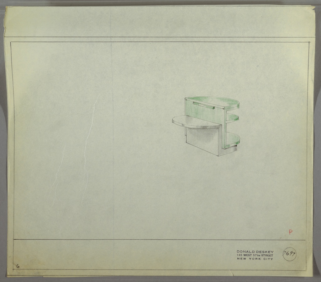 Perspective drawing of small end table in upper right. Right side of table is green lacquer (?) or glass in demi-lune shape. Three shelves on right side; top shelf opens and extends toward the left to create a circular surface area. Left side of table in wood (?) with one demi-lune shelf at middle of table.