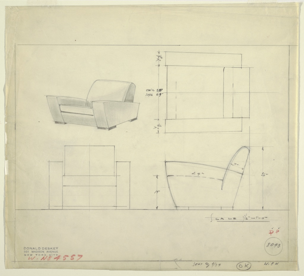 Four drawings of chair:  upper left, in pserspective, upper right in plan, lower left, from front, lower right, in profile.  Design for deep upholstered lounge chair, with thick arms sloping sharply to rear.  Individual wood based under two front and two rear of arms. Ruled border on our sides leaving large margins above an below.  Measurements on two right-hand drawings.
