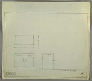 Design for server. At lower left, front elevation shows cabinet with single drawer with two horizontal recessed pulls above and cabinet below with two vertical recessed pulls. Drawers and doors of slightly greater width than top and base. Above, plan with dimensions; at lower center, side elevation with dimensions. Inscribed with Deskey No. 7923.