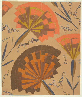 Stylized, fan-shaped carnations on stems in brown, orange, and ochre on a tan ground.