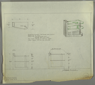 Design for low glass shelving. At upper right, perspective view: L-shaped bleached mahogany support whose base bulges outward at right; top of side support is hollowed out and inset with a reflector, over which is a rectangular glass panel etched on one side with flashed opal glass under. Into the side are set two glass shelves with thick polished edges, supported at right by column of polished chrome. At left and below are plan and two alternative front elevations. Inscribed with Deskey No. 8247.