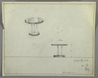 Perspective, plan and elevation drawing for round end table. Circular top of table in reflective material, probably Bakelite, with metal strip around outer edge. Three tubular metal, straight legs on base of Bakelite (?), metal strip around outer edge.