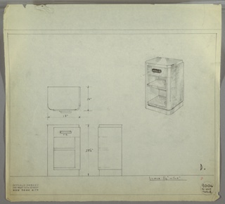 Perspective, plan, and elevation drawing for night table. Small table with squared corners in back and rounded corners in front. Panel of burled (?) wood on right side of table from front to side; body of table in another wood. Drawer at top with rectangular pull; two open shelves below.