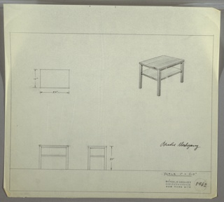 Perspective, plan, and elevation drawing of a bleached mahogany end table. Rectangular surface, open shelf below, and four straight, squared legs