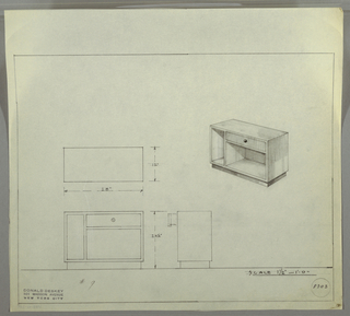 Design for end table. At upper right, perspective view of rectangular unit resting on smaller rectangular base in darker material. At left, open vertical storage; at right, drawer with spherical pull above open horizontal cubby. At lower left, plan, front, and side views. Inscribed with Deskey No. 8303.