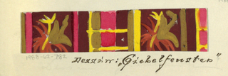 Geometric block pattern with leaf motifs in maroon, ochre, yellow, and pink.