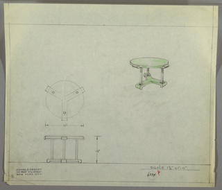 Perspective, plan, and elevation drawing for round end table, probably in green lacquer and metal. Circular top in green lacquer; three tubular, squared metal legs on a green lacquer base.
